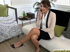 Legal age teenager realtor woman deepthroats and fucks a large dick