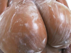Rachel Raxxx acquires their way giant tits all soapy and wet