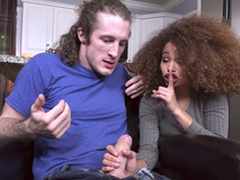 Ebony Cecilia Lion on will not hear of knees sucks the heavy white puncture
