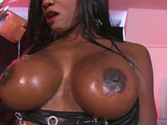 Diamond Jackson give him massage using their way big tits only