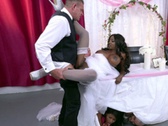 Mature deathly bride Diamond Jackson acquiring fucked overhead a table