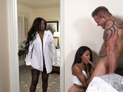 Diamond Jackson caught Indigo Vanity sucking hard white cock