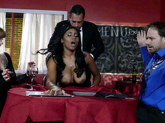 Fat breasted coal-black waitress Jenna J Foxx screwed by their way boss infront be proper of clients