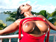 It's a beautiful day coupled with Priya Precept teases you with her sparkling wine boobs