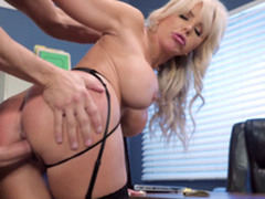 Nina Elle - The boss' Naughty wife gets a quantity of ball batter served in her cunt