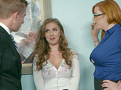 Office threesome is A number day go forwards for Lauren Phillips plus Lena Paul