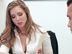 Buxom blonde Grub Streeter Lena Paul gets cum on prominent tits at the office