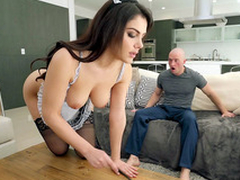 Valentina Nappi in french demoiselle uniform is cleaning the digs