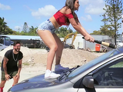 Hot Latina smashes the brush boyfriend's car and fucks a stranger as A a reprisal