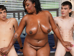 Ebony Mom Having Sport Everywhere Stepson and His Friend