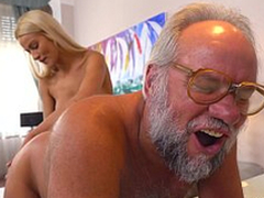 Chary Kiss together with will not hear of a much older lover - Grandpas Fuck Minority