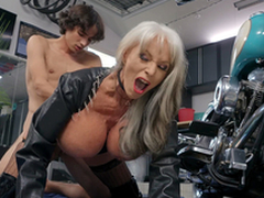 Sally D'Angelo acquires pounded by young Ricky Spanish bordering her Harley