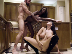 Alms-man nails black chick Ana Foxxx after a long time Romi Rain sucks his XXX cock