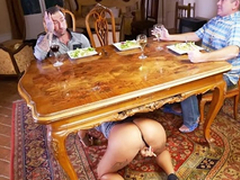 Curly whore Venus Afrodita climbs subordinate to the table for XXX sucking