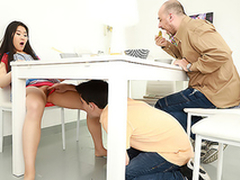Small-tittied Asian with an increment of XXX partner have sex not far from the brush stepdad