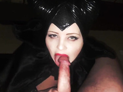 The libidinous witch conducts a youth-prolonging ritual - summons a big juicy cock and greedily sucks it to cover the brush face with hot fragrant sex cream