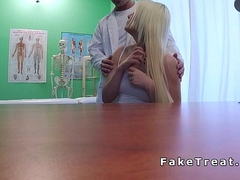 Doctor touches blonde at the bonks her in fake sanitarium